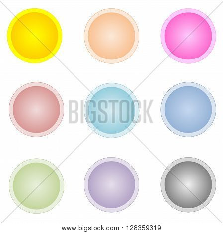 Set of nine colorful circle  buttons isolated in white background