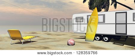Caravan holidays at the beach, relaxing and surfing - 3D render