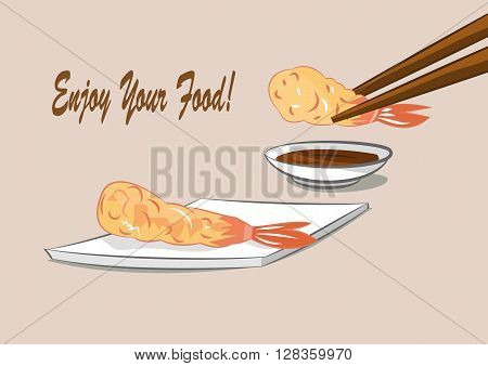 vector illustration of Japanese food deep fried shrimps with sauce (Tempura). eps 10