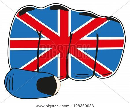Vector illustration of the flag of the england on fist of the person