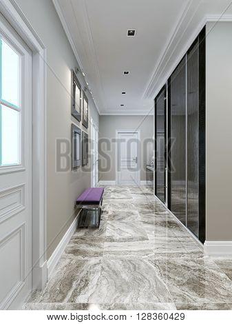 Modern corridor design, elegant interior. 3d render
