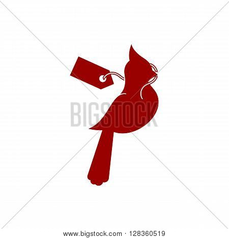 Spring sale icon EPS 10 vector stock illustration with red cardinal bird on the white background