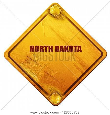 north dakota, 3D rendering, isolated grunge yellow road sign