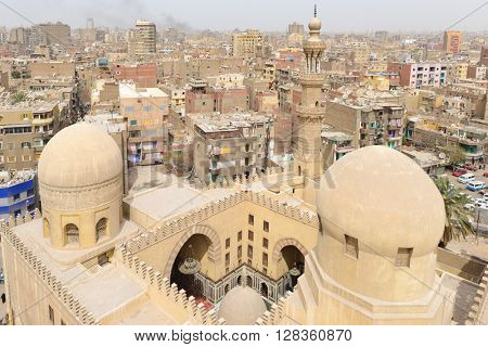Aerial view of Ibn Tulun Mosque and Cairo - Egypt