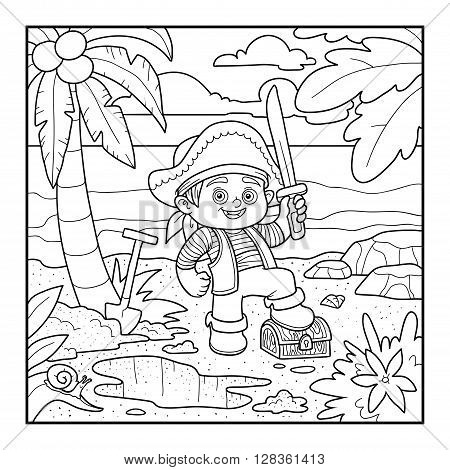 Coloring Book. Pirate And Treasure Chest On A Tropical Island