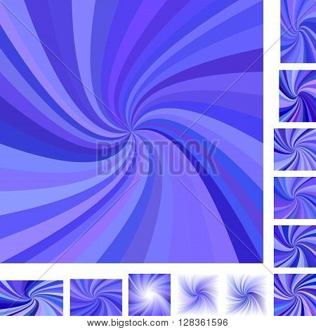 Blue vector spiral design background set. Different color, gradient, screen, paper size versions.