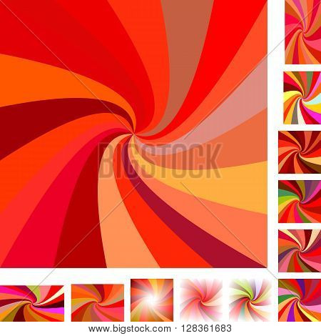 Red  vector spiral design background set. Different color, gradient, screen, paper size versions.