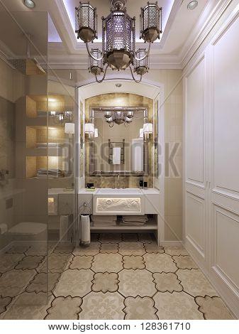 Bright bathroom in Moroccan style. 3d render