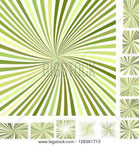 Green vector burst design background set. Different color, gradient, screen, paper size versions.