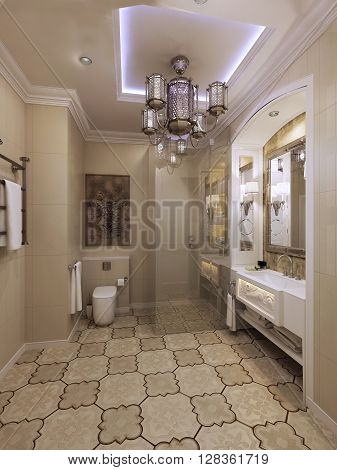 Bright eastern style bathroom, elegant interior. 3d render
