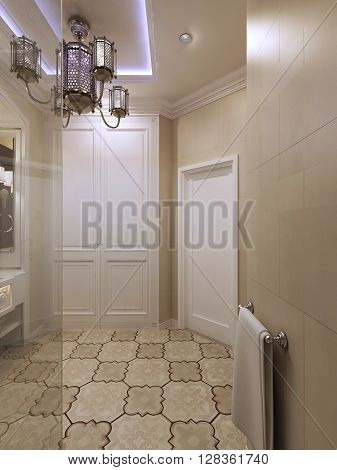 Spacious barhroom in moroccan style. 3d render