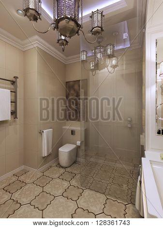 Moroccan bathroom interior, beige walls. 3d render
