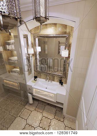 Eastern bathroom in Moroccan style. 3d render