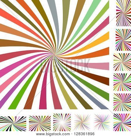 Colorful and white vector spiral design background set. Different color, gradient, screen, paper size versions.