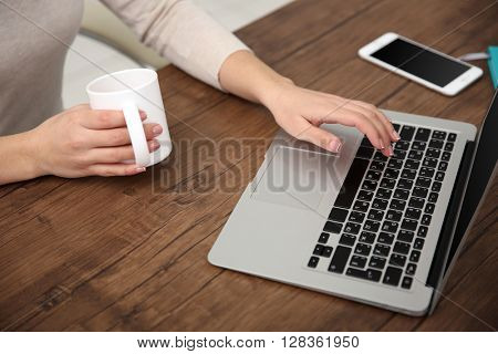 Work concept. Woman using laptop