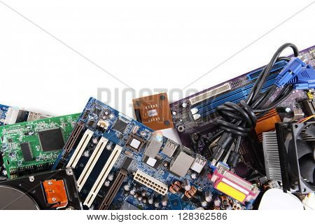 Set of computer parts isolated on white