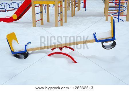 Empty children playground in winter day