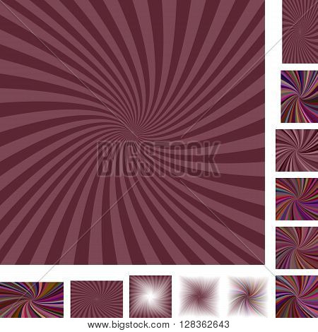 Dark retro vector spiral design background set. Different color, gradient, screen, paper size versions.