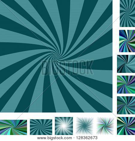 Teal vector spiral design background set. Different color, gradient, screen, paper size versions.