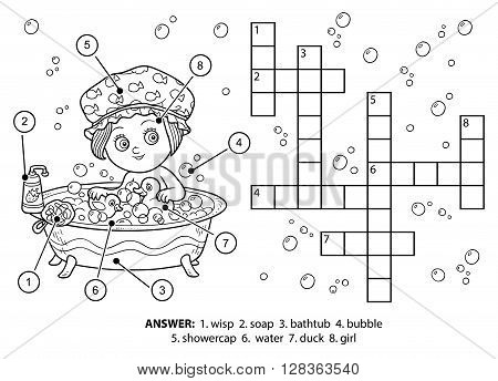 Vector Colorless Crossword. The Girl Takes A Bath With Foam