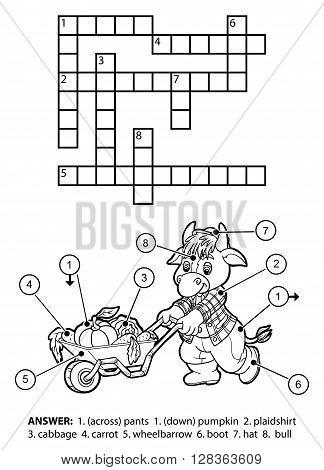 Vector Colorless Crossword. Bull Gardener With A Wheelbarrow