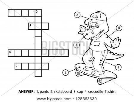 Vector Colorless Crossword. Cheerful Crocodile On A Skateboard