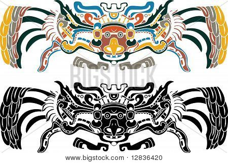 Aztec bird stencil in two variants