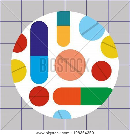 Vector illustration of drugs in the form of tablets, capsules and pills of various colors and sizes