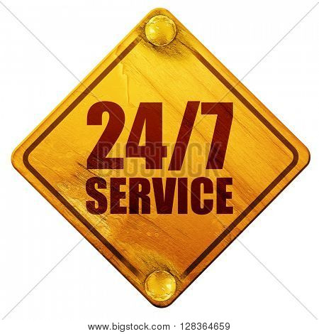 24/7 service, 3D rendering, isolated grunge yellow road sign