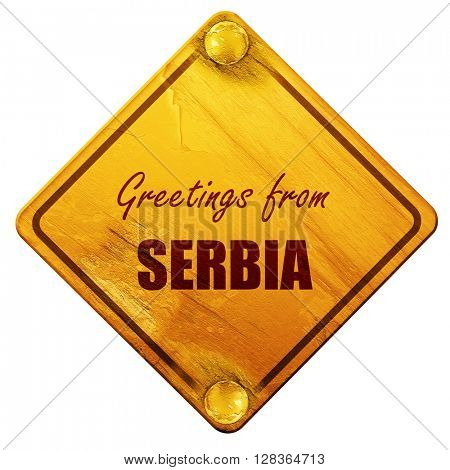 Greetings from serbia, 3D rendering, isolated grunge yellow road