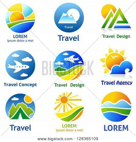 Set of travel business concept. Symbols and emblems for travel agency airlines tourism adventure and expedition.
