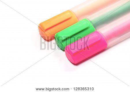 Closed up Multicolor Highlighter marker or highligh pen