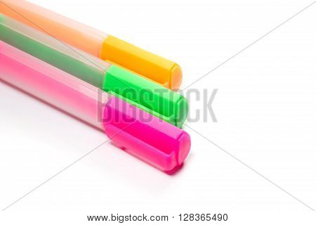 Closed up Multicolor Highlighter marker or highligh pen