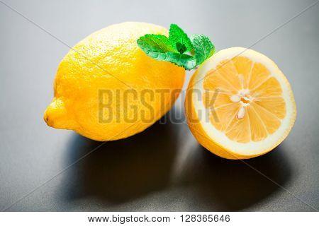 lemon isolated on a black background