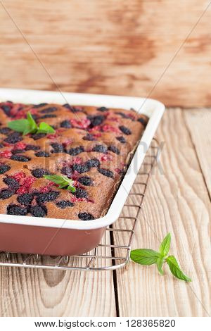 Gingerbread cake with mulberries and red currants. Shallow dof