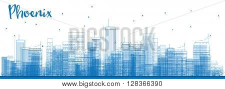 Outline Phoenix Skyline with Blue Buildings. Business travel and tourism concept with modern buildings. Image for presentation, banner, placard and web site.