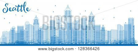 Outline Seattle City Skyline with Blue Buildings. Business travel and tourism concept with modern buildings. Image for presentation, banner, placard and web site.
