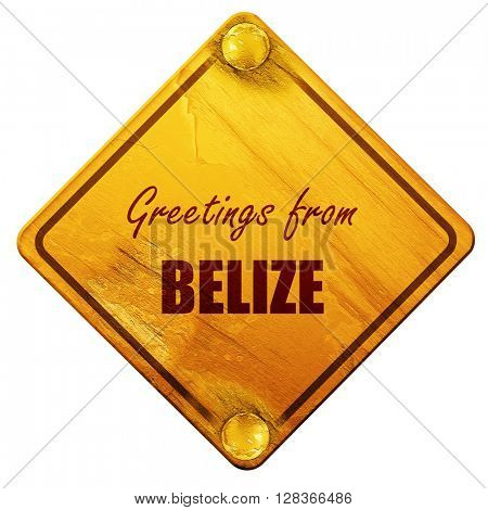 Greetings from belize, 3D rendering, isolated grunge yellow road