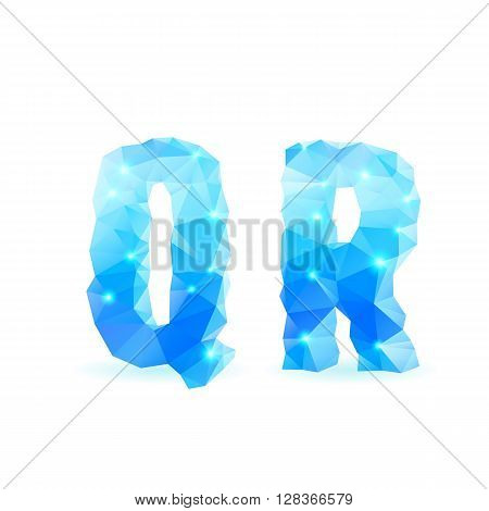 Shiny blue polygonal font. Crystal style Q and R letters