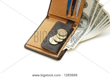 Wallet With Dollar Banknotes And Credit Cards Isolated On White