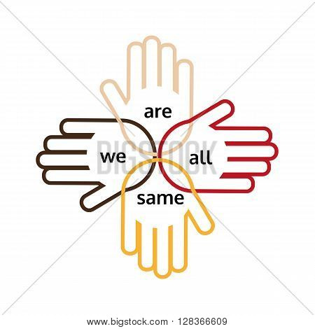 Motivated slogan on multinational unity and friendship. Arms of different nations are together. Idea on poster banner for different nations friendship multinational unity. Vector illustration