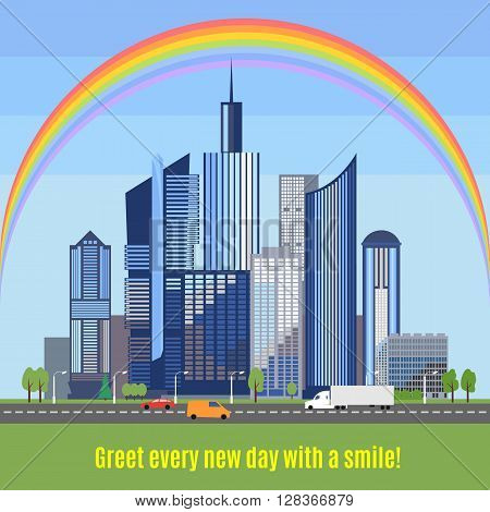 Modern city with developed infrastructure. Flat style skyscrapers. Ecologically clean city with a rainbow over the buildings. Save the environment together. Protection from air pollution.