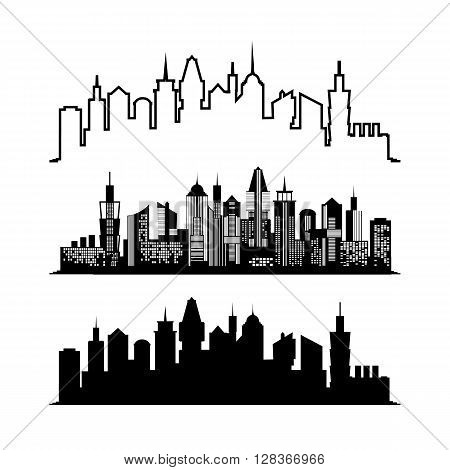 Set of skyscraper sketches. City architect design. Silhouette of the city isolated on white background. flat illustration. Business concept with skyscrapers. Image for presentations, banners