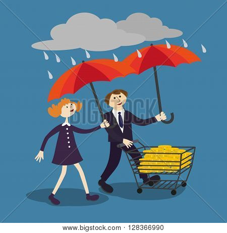 Business people hold umbrella to protect money. Financial savings management poster concept. Risk managers protect finance by proper management's umbrella in the rain of risks. Vector Illustration.
