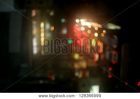 abstact blur bokeh of traffic jam on road in city