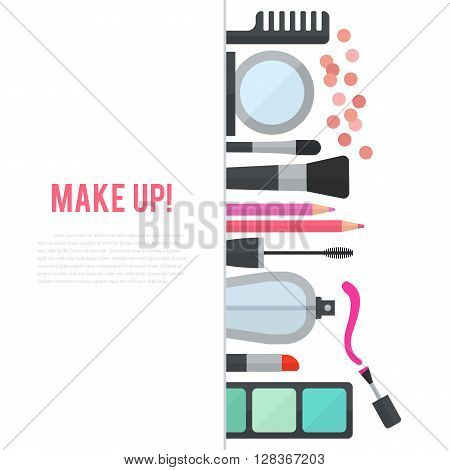 Make up concept flat illustration with cosmetics, makeup table, mirror, make-up brushes, perfume, nail polish and comb are laid out in row. Vertical concept design isolated on white background.