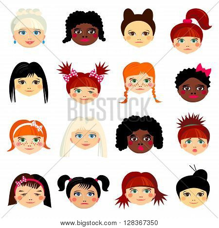 Avatar set with womens of different ethnicity origin. Funny faces. Girls of different nationalities. Women with different types of looks and hairstyles. Cartoon style. design illustration