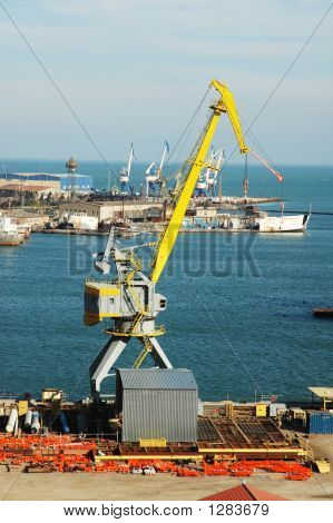 Industrial Port With Cranes In Baku, Azerbaijan