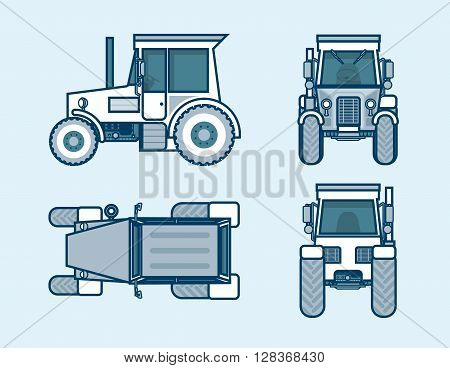 Set stock vector illustration isolated tractor top, front, side, back view line style blue background Element for site, info graphic, video, animation, website, e-mail, newsletter, report, comic, icon