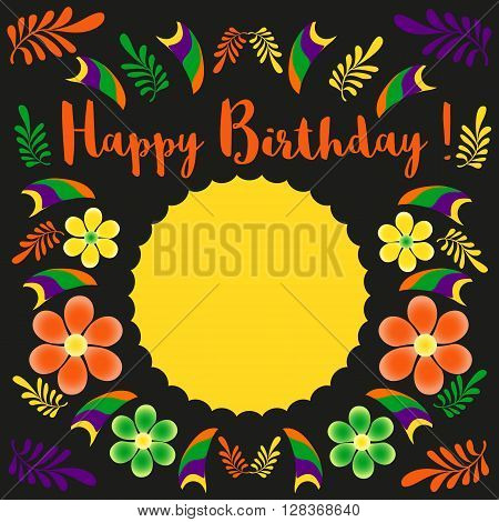 Happy Birthday Card Template. Poster on party celebration blank space for greeting. Idea for design of birthday party holiday banner decoration for birthday card background. Vector illustration.